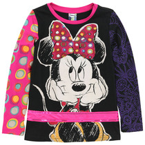 Lila - Black and Pink long sleeve top with Minnie Mouse image