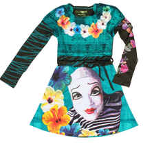 They - Long sleeve dress in turquoise and black with Cirque du Soleil images