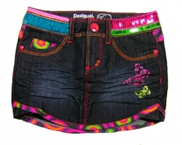 Piton - Dark denim short skirt with bright neon colour circular trim