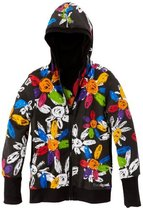 Abrantes black flower power reversible long sleeve hoodie