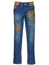 Hoz - Navy denim jeans with eastern print detail and sequins around the waistband