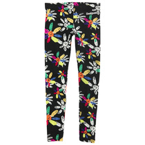 Montanesa - Black leggings with crazy daisy flowers