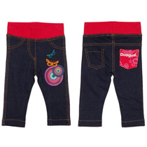 Boton - Navy baby leggings with pink waistband and back pocket, plus graphic detail