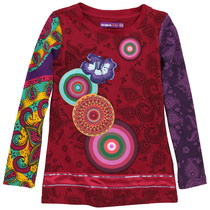 Acevedo - Red long sleeve Tshirt with bright applique detail