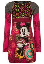 Cir - Long sleeved red patterned dress, high waistband and the Minnie Mouse image