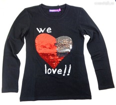 Abril black long sleeve top with sequined heart that reverses colour