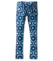Duero - Bold circular patterned trousers in a range of blues
