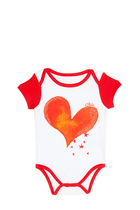 Galactico white short sleeve romper with red trim and orange heart detail