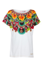 Anton white short sleeve Tshirt with multi colour floral pattern