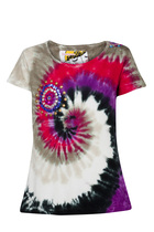 Carri Tie dye short sleeve Tshirt with in pinks and olive greens