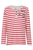 Lauracon red and white long sleeve Tshirt with grandpa neckline