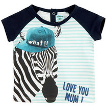 Cebra short sleeve Tshirt in turquoise, white and navy with zebra graphic detail.