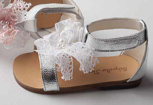 White and silver leather sandal with lace and bow detail