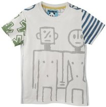 Fortaleza white short sleeve Tshirt with grey graphic detail and colour detail on sleeves