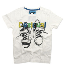 Uberlada white short sleeve Tshirt with graphic detail of sneakers in black with Desigual appliqued in colour