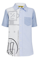 Preto short sleeve shirt in pale blue and white with graphic detail in grey