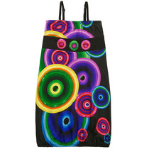 Afra black short sleeve dress with bright pop art circular patterns