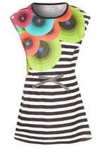 Capensi black and white striped short sleeve dress with bright op art circular patterns