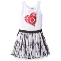 Vandala sleeveless dress with the top in white with red heart and the skirt in black  and white tie dye
