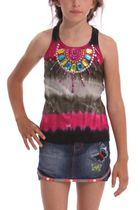 Coral Pink and black sleeveless tie dye Tshirt with bold bead work