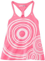 Frit neon pink sleeveless Tshirt with op art pattern