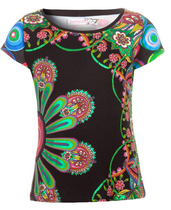 Veni short sleeve black Tshirt floral pattern with highlights in green, op art detail on the back