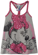Conmi grey sleeveless Tshirt with Minnie mouse detail in pink