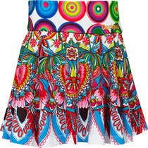 Evi white skirt with bright colours and floral patterns