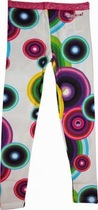 Fred white leggings with bright circular coloured patterns