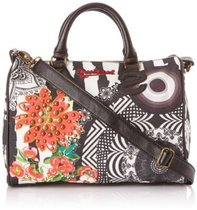 Bowling Jackson black and white with scarlet floral detail handbag