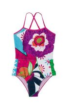 Anaga full costume swimwear in bright fuchsia floral patterns