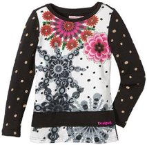 Angla white and black long sleeve Tshirt with multi colour floral pattern