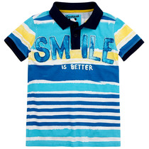 "Acrela  ""Smile"" short sleeve polo shirt in turquoise and blue with a navy collar"
