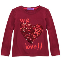 Abril red long sleeved top with reversible sequin heart