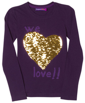 Abril - Purple long sleeve top with reversible gold sequin heart