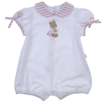 White romper with pink peter pan collar and bear applique
