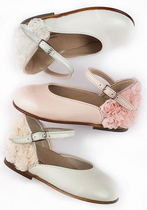 French ballerina shoes with back roses and ankle strap