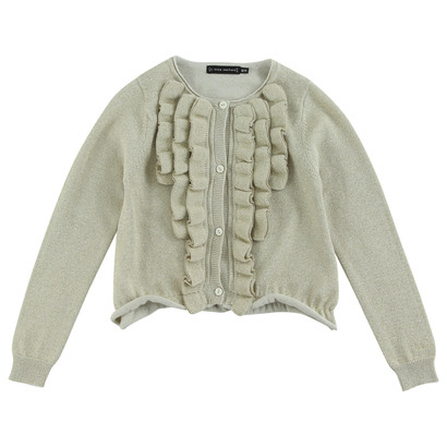 Gold cotton knitted cardigan
