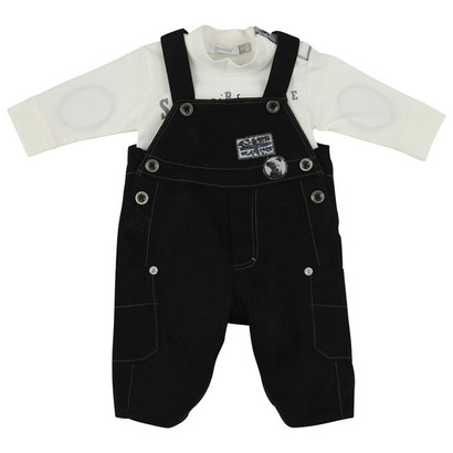 Black and cream bear and flag dungaree outfit - Fete