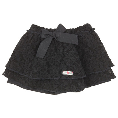 Lace Pleated Skirt  - Black City