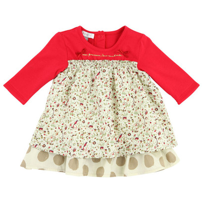 Empire style floral dress with red tunic - Grand Nord