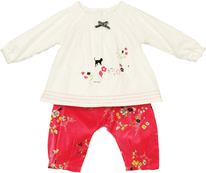 Chinese Kitty Top and Fuchsia Floral Pants - Ombre Chinoise