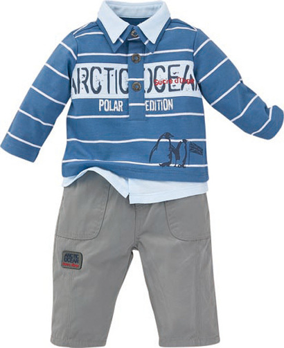 Arctic Ocean rugby polo shirt and trouser outfit