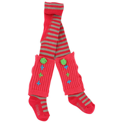 Cerise striped stockings with patterned legwarmers - Baroud Colour