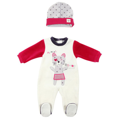 My name is Doudou cat romper outfit with matching polka dot hat - Layette Nuit
