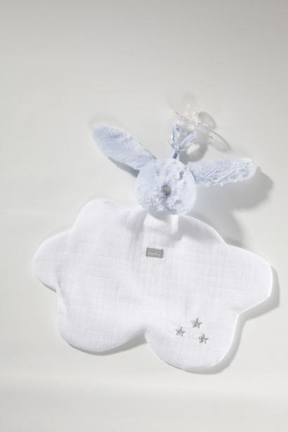 Mr Martin Lapin Blue doudou blanket and dummy holder