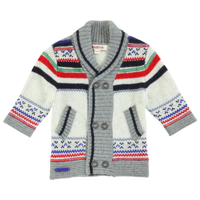 Off White and Green Knitted Cardigan - La Piste Aux Etoiles