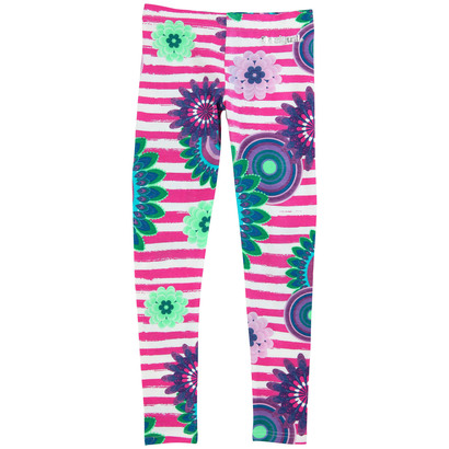 Abeilla - Bright pink and turquoise patterned leggings - Galactic