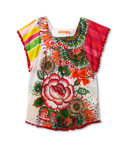 Reggae - Short sleeve blouse in bright pink and orange patterns - Flower lif