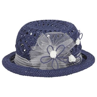 Navy blue straw hat with tulle detail - Edition Speciale